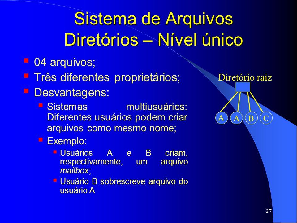 27 Sistema de Arquivos Diretórios – Nível único 04 arquivos; Três diferentes proprietários; Desvantagens: Sistemas multiusuários: Diferentes usuários