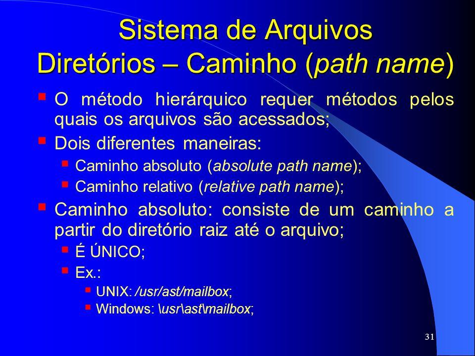 31 Sistema de Arquivos Diretórios – Caminho (path name) O método hierárquico requer métodos pelos quais os arquivos são acessados; Dois diferentes man
