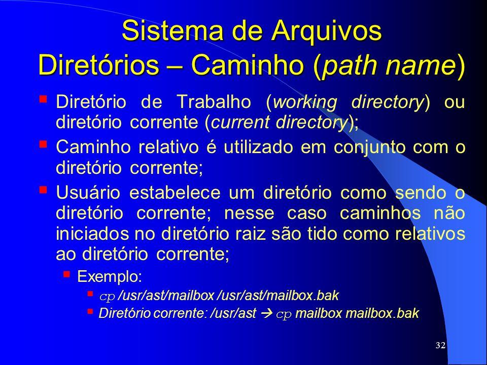 32 Sistema de Arquivos Diretórios – Caminho (path name) Diretório de Trabalho (working directory) ou diretório corrente (current directory); Caminho r