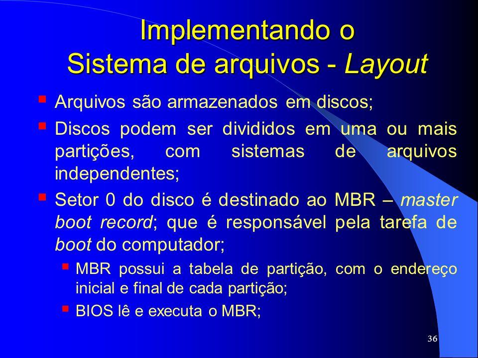 36 Implementando o Sistema de arquivos - Layout Arquivos são armazenados em discos; Discos podem ser divididos em uma ou mais partições, com sistemas