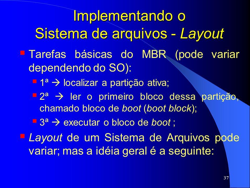 37 Implementando o Sistema de arquivos - Layout Tarefas básicas do MBR (pode variar dependendo do SO): 1ª localizar a partição ativa; 2ª ler o primeir
