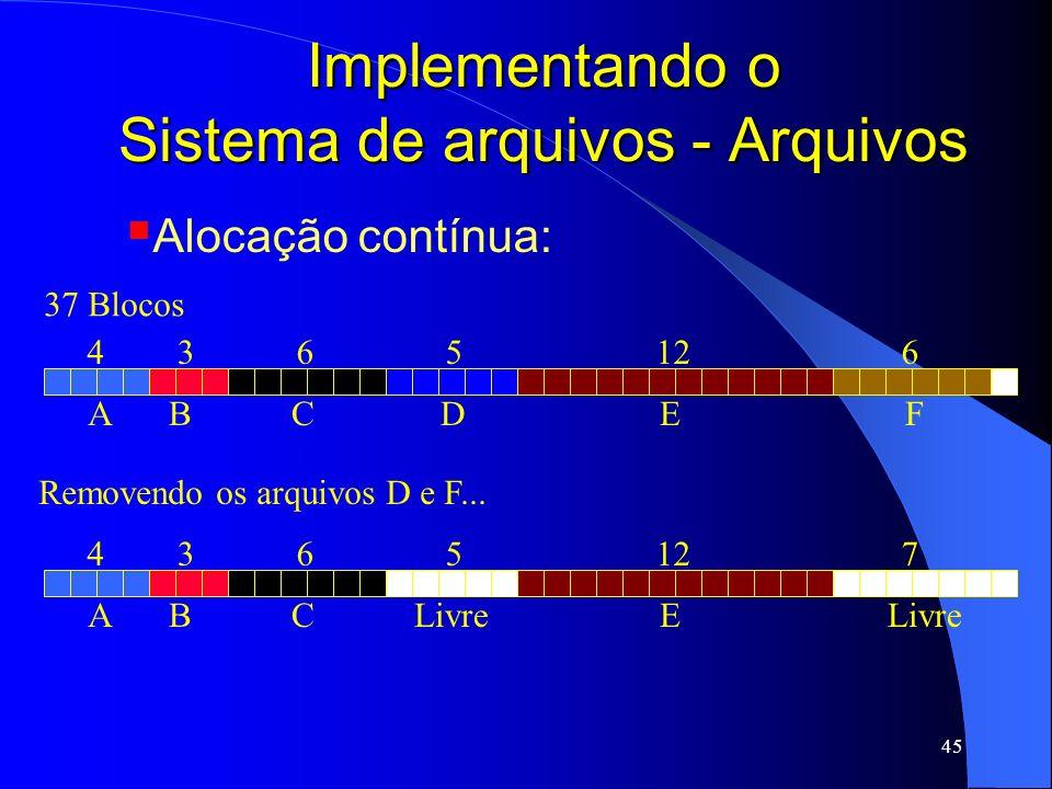 45 Implementando o Sistema de arquivos - Arquivos ABCDEF 4365126 37 Blocos Removendo os arquivos D e F... ABCELivre 4365127 Livre Alocação contínua: