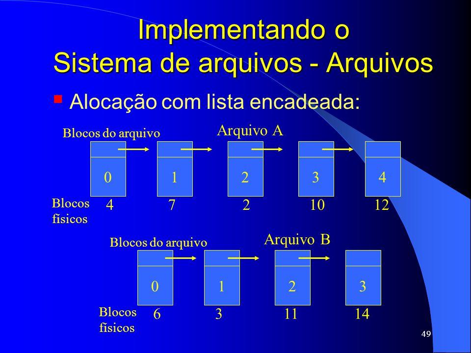 49 Implementando o Sistema de arquivos - Arquivos Alocação com lista encadeada: 0 Arquivo A Blocos do arquivo 1234 Blocos físicos 4721012 0 Arquivo B