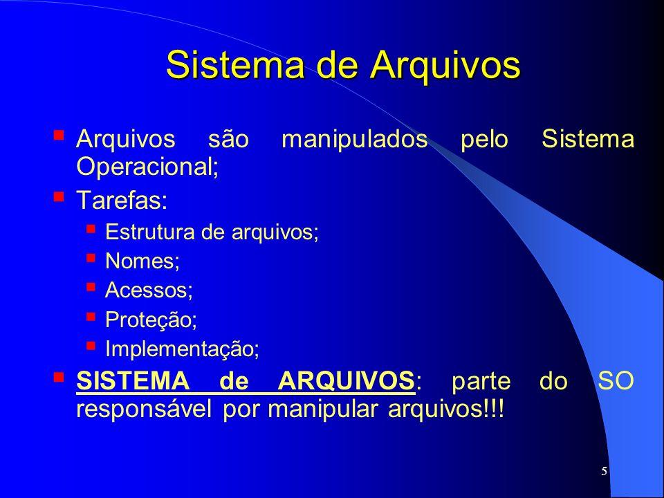 16 Sistema de Arquivos Tipos de arquivos Arquivos regulares são aqueles que contêm informações dos usuários; UNIX e Windows; Diretórios são arquivos responsáveis por manter a estrutura do Sistema de Arquivos; Arquivos especiais de caracter são aqueles relacionados com E/S e utilizados para modelar dispositivos seriais de E/S; UNIX; Ex.: impressora, interface de rede, terminais; Arquivos especiais de bloco são aqueles utilizados para modelar discos; UNIX;