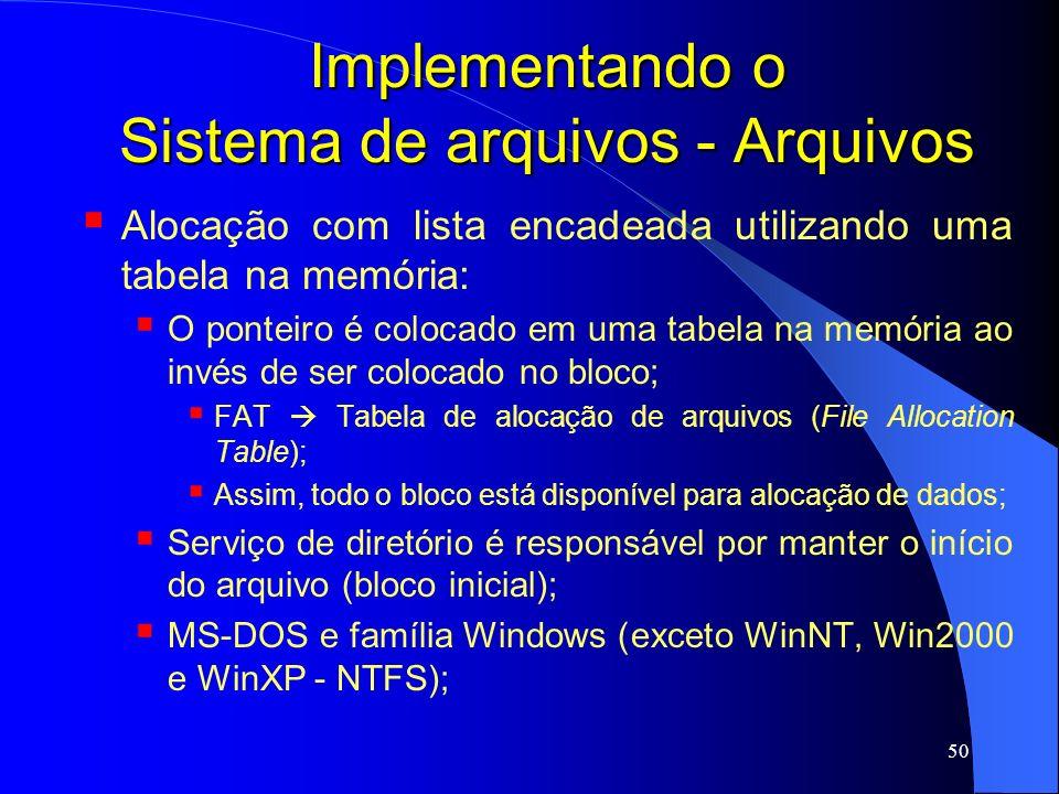 50 Implementando o Sistema de arquivos - Arquivos Alocação com lista encadeada utilizando uma tabela na memória: O ponteiro é colocado em uma tabela n
