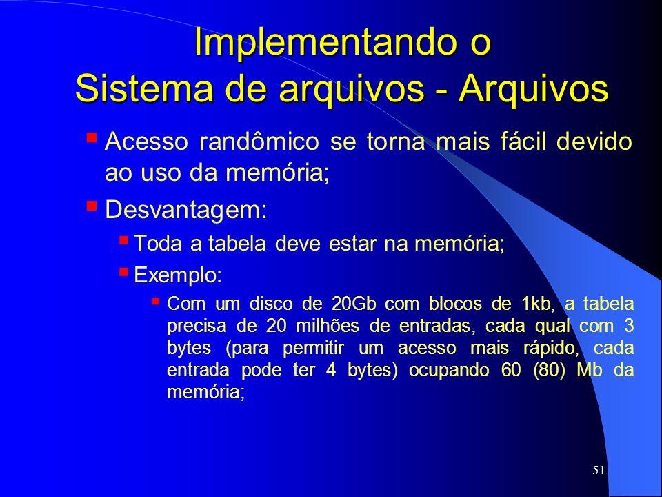 51 Implementando o Sistema de arquivos - Arquivos Acesso randômico se torna mais fácil devido ao uso da memória; Desvantagem: Toda a tabela deve estar
