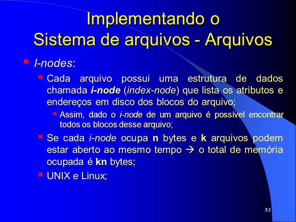 53 Implementando o Sistema de arquivos - Arquivos I-nodes: Cada arquivo possui uma estrutura de dados chamada i-node (index-node) que lista os atribut