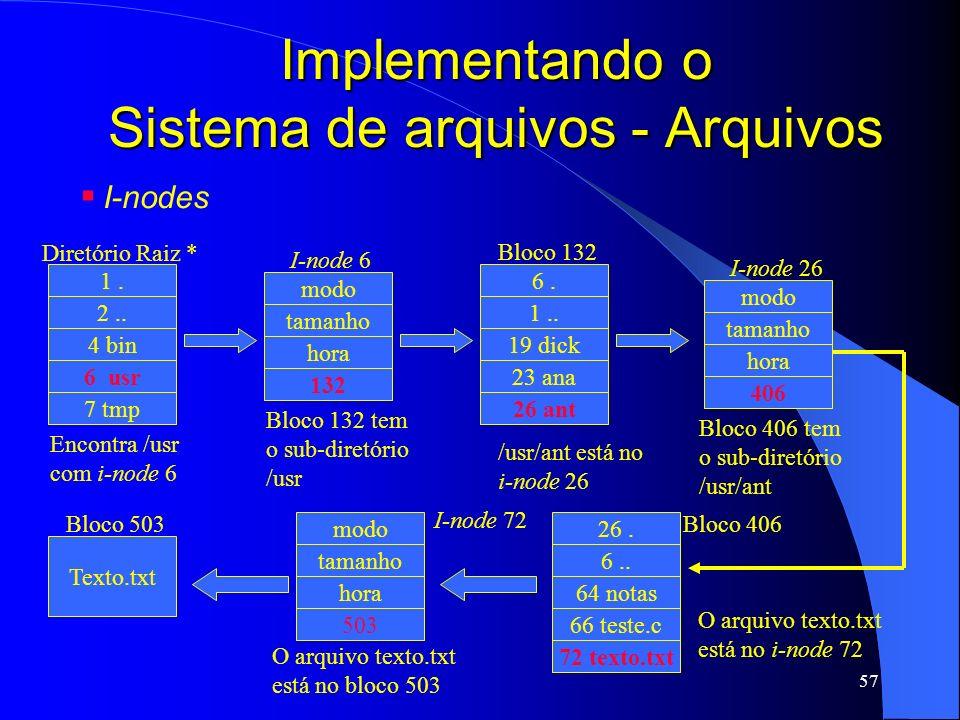 57 Implementando o Sistema de arquivos - Arquivos I-nodes O arquivo texto.txt está no bloco 503 1. 7 tmp 6 usr 4 bin 2.. Diretório Raiz * Encontra /us