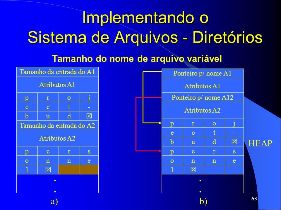 63 Implementando o Sistema de Arquivos - Diretórios Tamanho da entrada do A1 Atributos A1 pjor b du e-tc Tamanho da entrada do A2 Atributos A2 psre l
