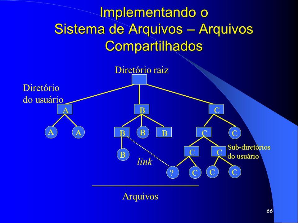 66 Implementando o Sistema de Arquivos – Arquivos Compartilhados Diretório raiz A AB ? ABC C C Diretório do usuário Arquivos BB B C CC CC Sub-diretóri