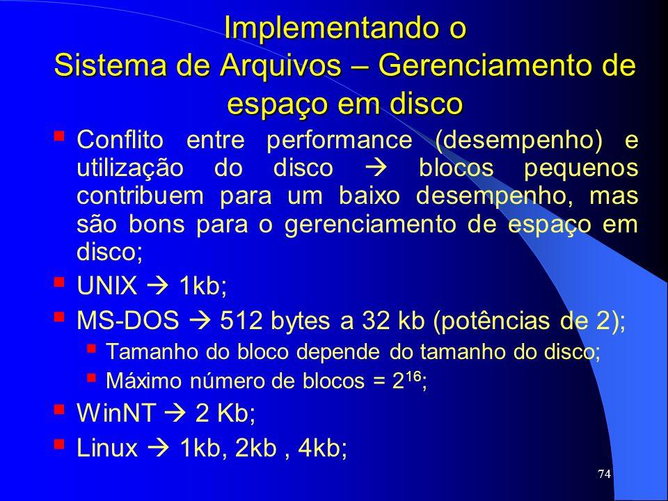 74 Implementando o Sistema de Arquivos – Gerenciamento de espaço em disco Conflito entre performance (desempenho) e utilização do disco blocos pequeno