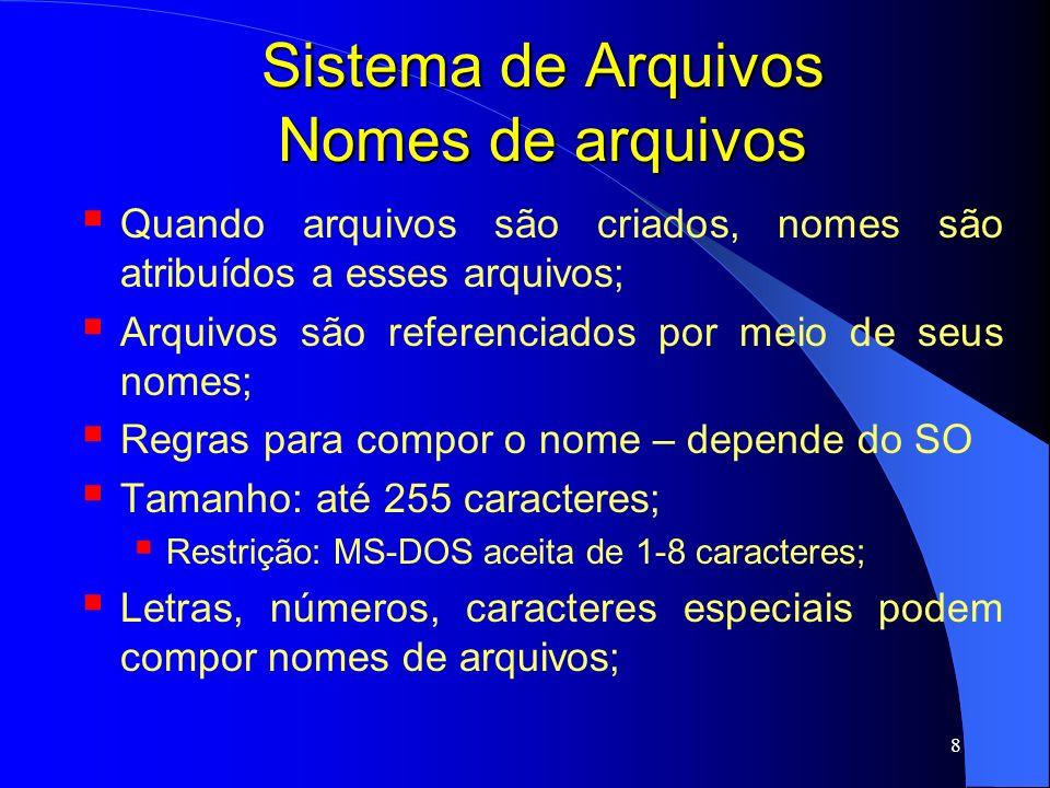 19 Sistema de Arquivos Atributos de arquivos Além do nome e dos dados, todo arquivo tem outras informações associadas a ele atributos; A lista de atributos varia de SO para SO;