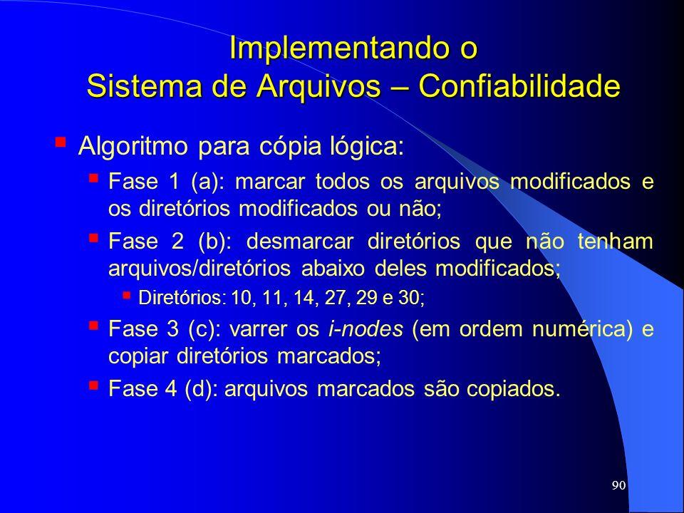 90 Implementando o Sistema de Arquivos – Confiabilidade Algoritmo para cópia lógica: Fase 1 (a): marcar todos os arquivos modificados e os diretórios