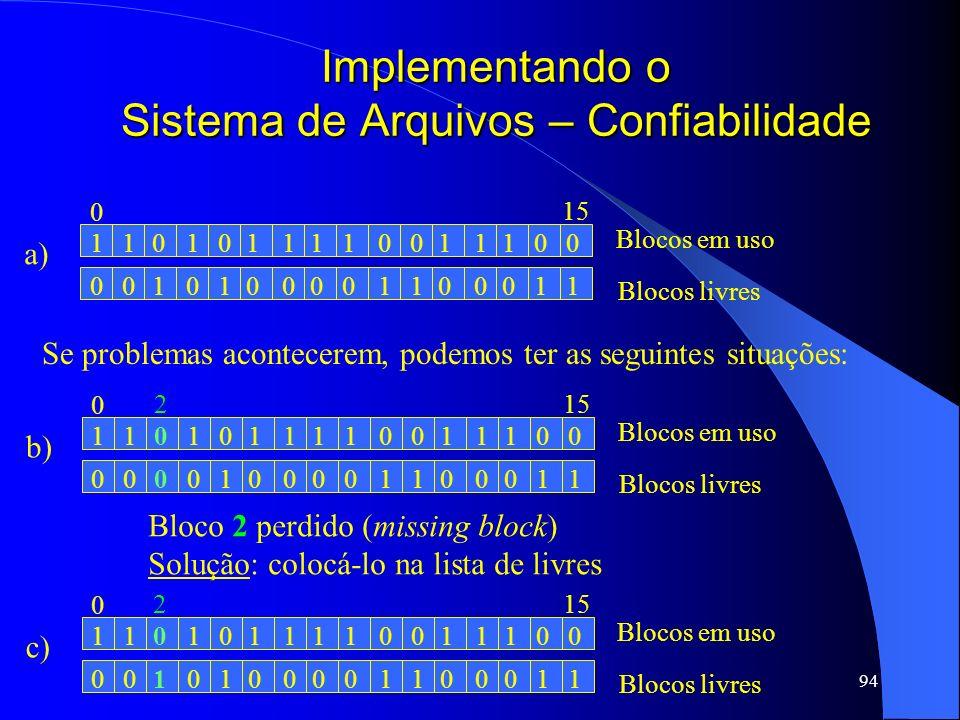 94 Implementando o Sistema de Arquivos – Confiabilidade a) 1101010111111000 0010101000000111 Blocos em uso Blocos livres 0 15 Se problemas acontecerem