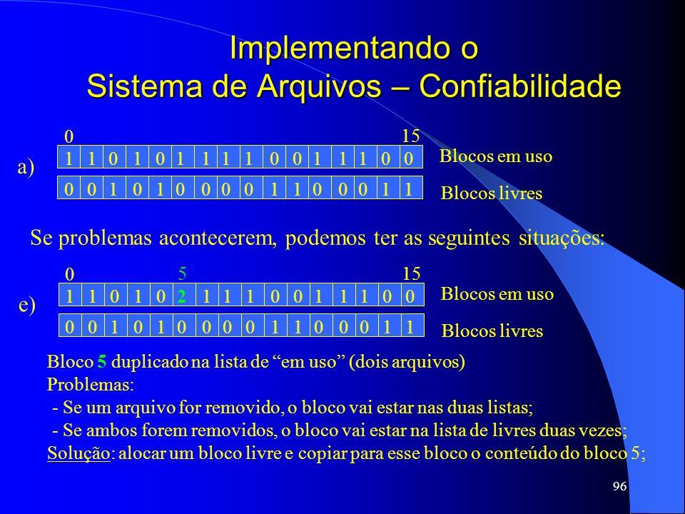96 Implementando o Sistema de Arquivos – Confiabilidade a) 1101010111111000 0010101000000111 Blocos em uso Blocos livres 0 15 Se problemas acontecerem