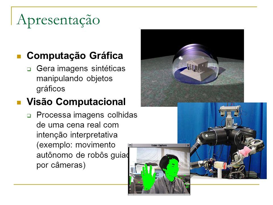 Apresentação Computação Gráfica Gera imagens sintéticas manipulando objetos gráficos Visão Computacional Processa imagens colhidas de uma cena real co