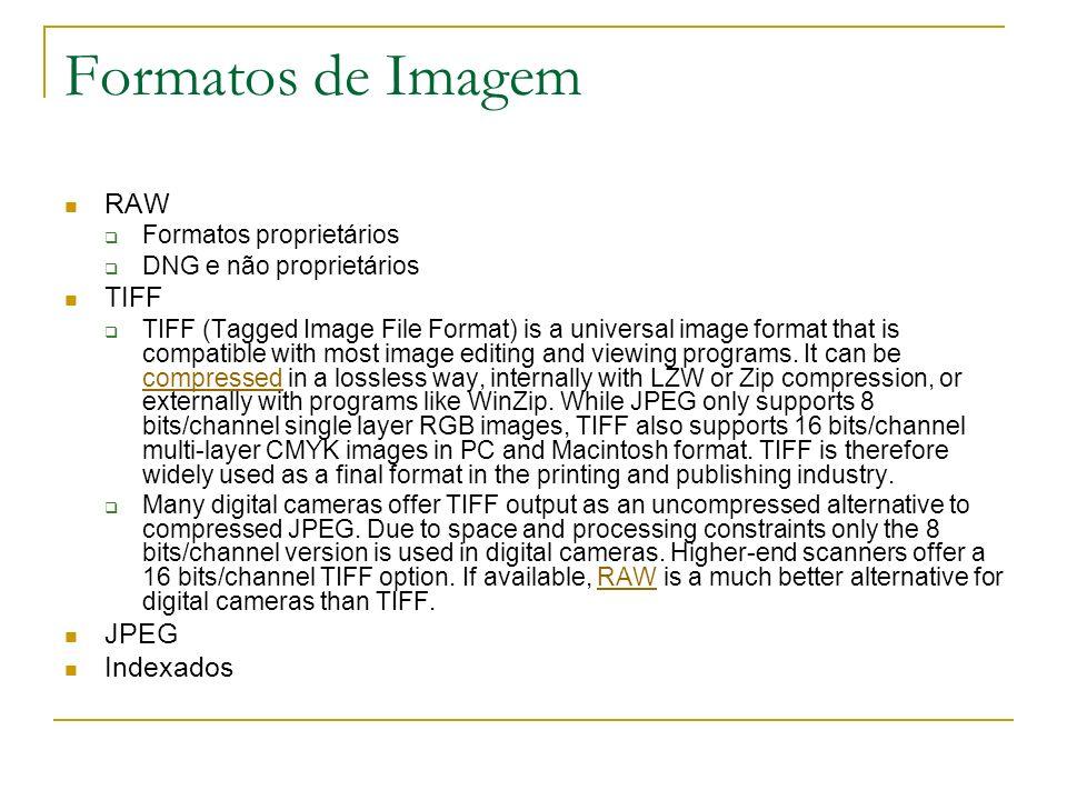 Formatos de Imagem RAW Formatos proprietários DNG e não proprietários TIFF TIFF (Tagged Image File Format) is a universal image format that is compati