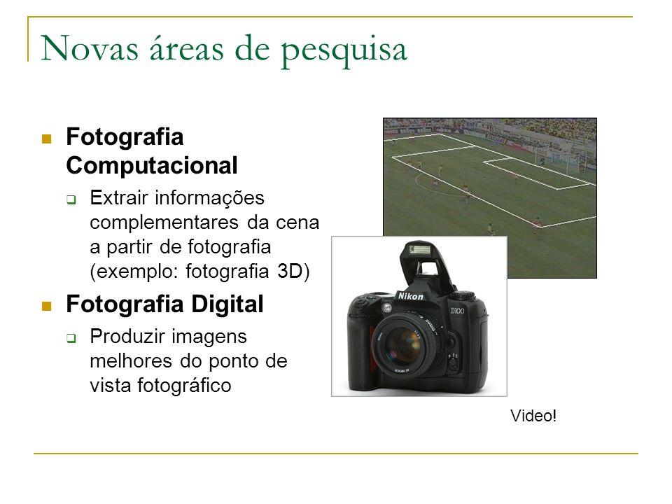 Novas áreas de pesquisa Fotografia Computacional Extrair informações complementares da cena a partir de fotografia (exemplo: fotografia 3D) Fotografia