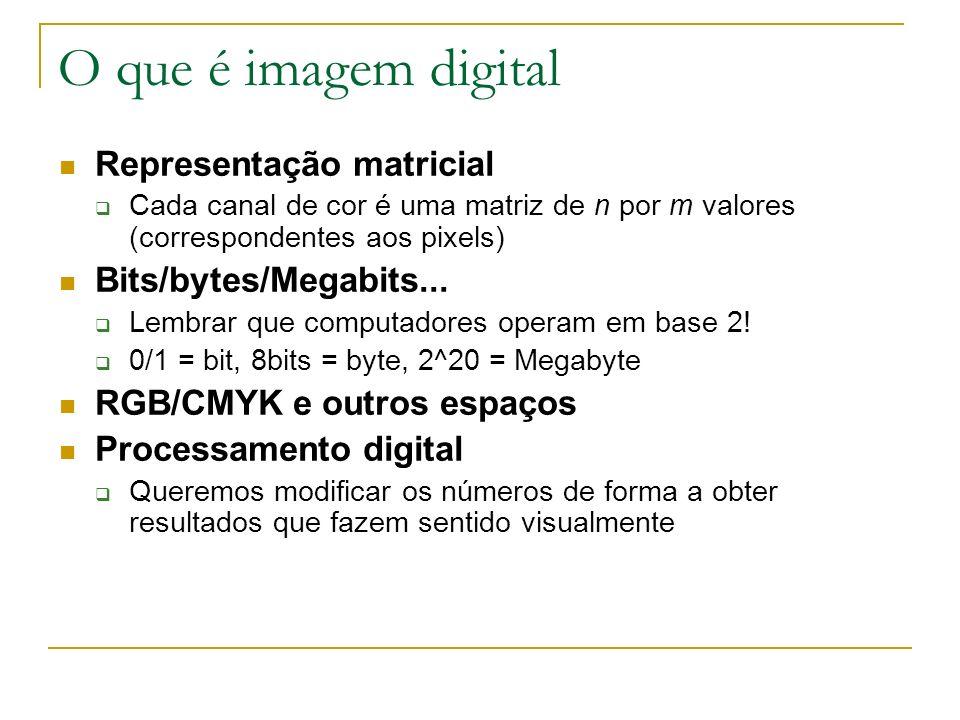 O que é imagem digital Representação matricial Cada canal de cor é uma matriz de n por m valores (correspondentes aos pixels) Bits/bytes/Megabits... L