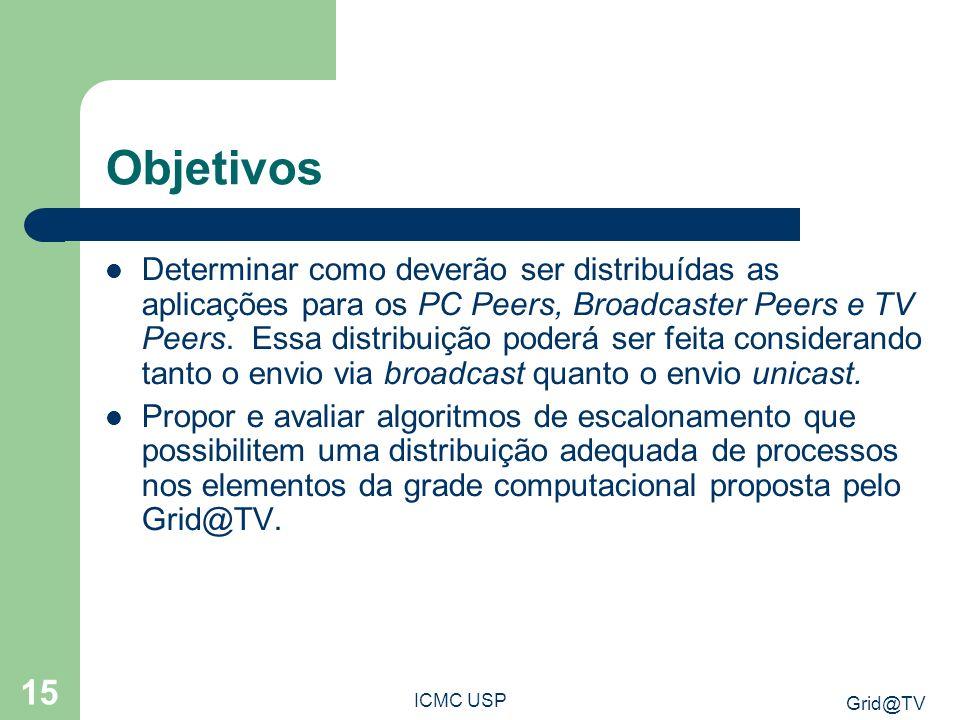 Grid@TV ICMC USP 15 Objetivos Determinar como deverão ser distribuídas as aplicações para os PC Peers, Broadcaster Peers e TV Peers.