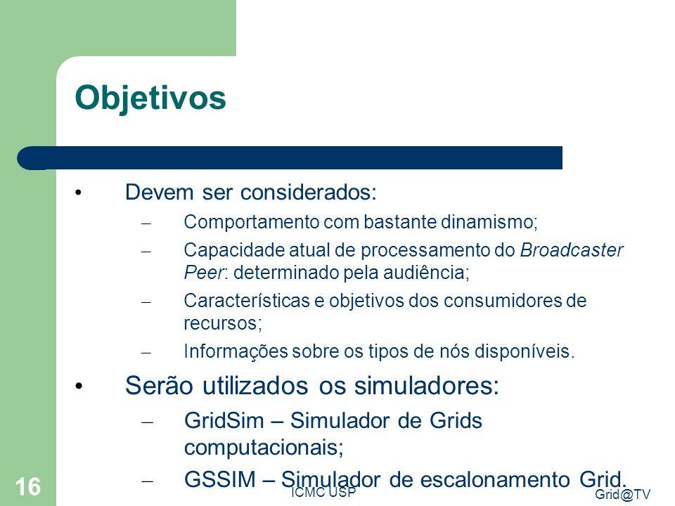 Grid@TV ICMC USP 16 Objetivos Devem ser considerados: – Comportamento com bastante dinamismo; – Capacidade atual de processamento do Broadcaster Peer: determinado pela audiência; – Características e objetivos dos consumidores de recursos; – Informações sobre os tipos de nós disponíveis.