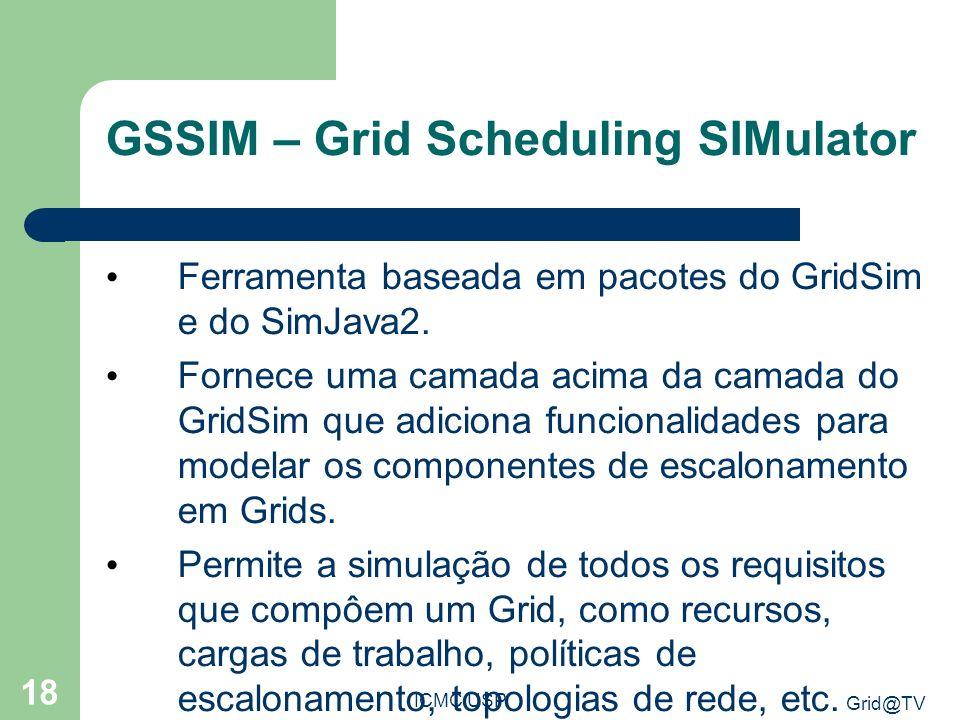 Grid@TV ICMC USP 18 GSSIM – Grid Scheduling SIMulator Ferramenta baseada em pacotes do GridSim e do SimJava2.