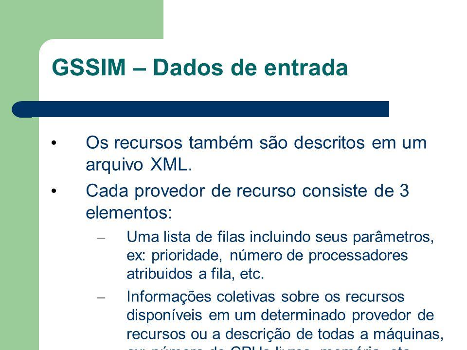 GSSIM – Dados de entrada Os recursos também são descritos em um arquivo XML.