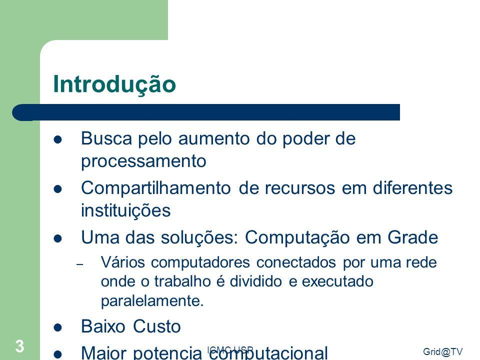 Grid@TV ICMC USP 14 Arquitetura Grid Anyware – Contexto TV Digital Arquitetura Grid@TV(Teixeira, 2009)