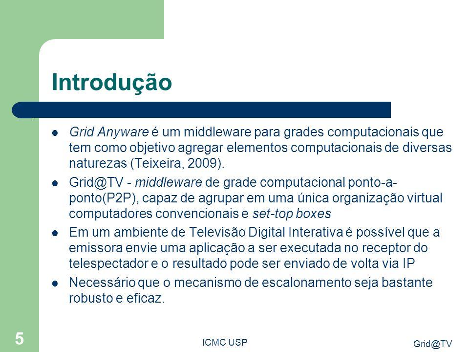 Grid@TV ICMC USP 5 Introdução Grid Anyware é um middleware para grades computacionais que tem como objetivo agregar elementos computacionais de diversas naturezas (Teixeira, 2009).