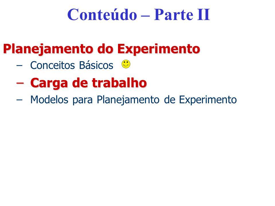 Conteúdo – Parte II Planejamento do Experimento –Conceitos Básicos –Carga de trabalho –Modelos para Planejamento de Experimento