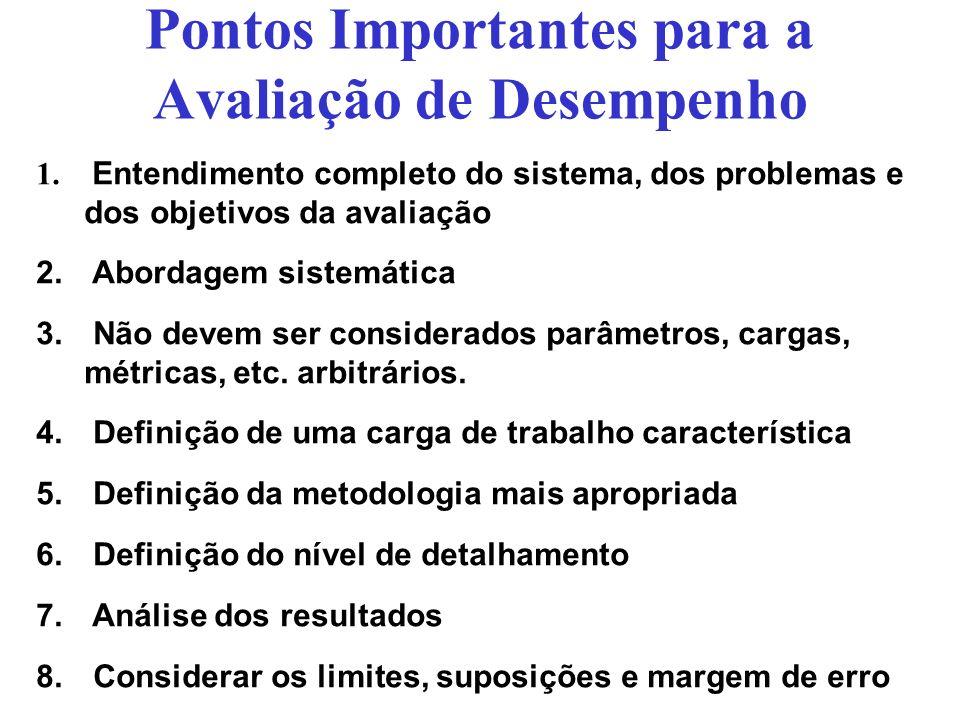 Pontos Importantes para a Avaliação de Desempenho 1. Entendimento completo do sistema, dos problemas e dos objetivos da avaliação 2. Abordagem sistemá