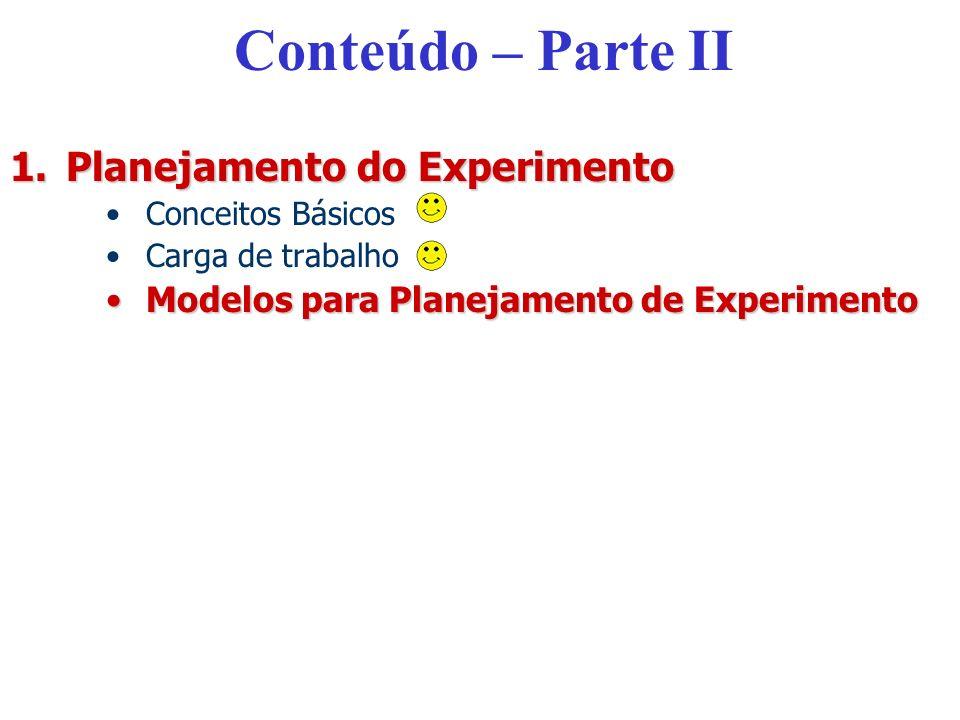 Conteúdo – Parte II 1.Planejamento do Experimento Conceitos Básicos Carga de trabalho Modelos para Planejamento de ExperimentoModelos para Planejament