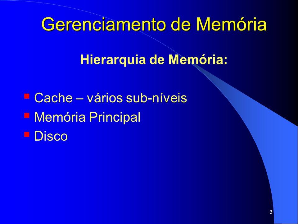 14 Gerenciamento de Memória Partições Fixas Divisão da Memória em Partições Fixas: partição 4 partição 3 partição 2 partição 1 S.O.