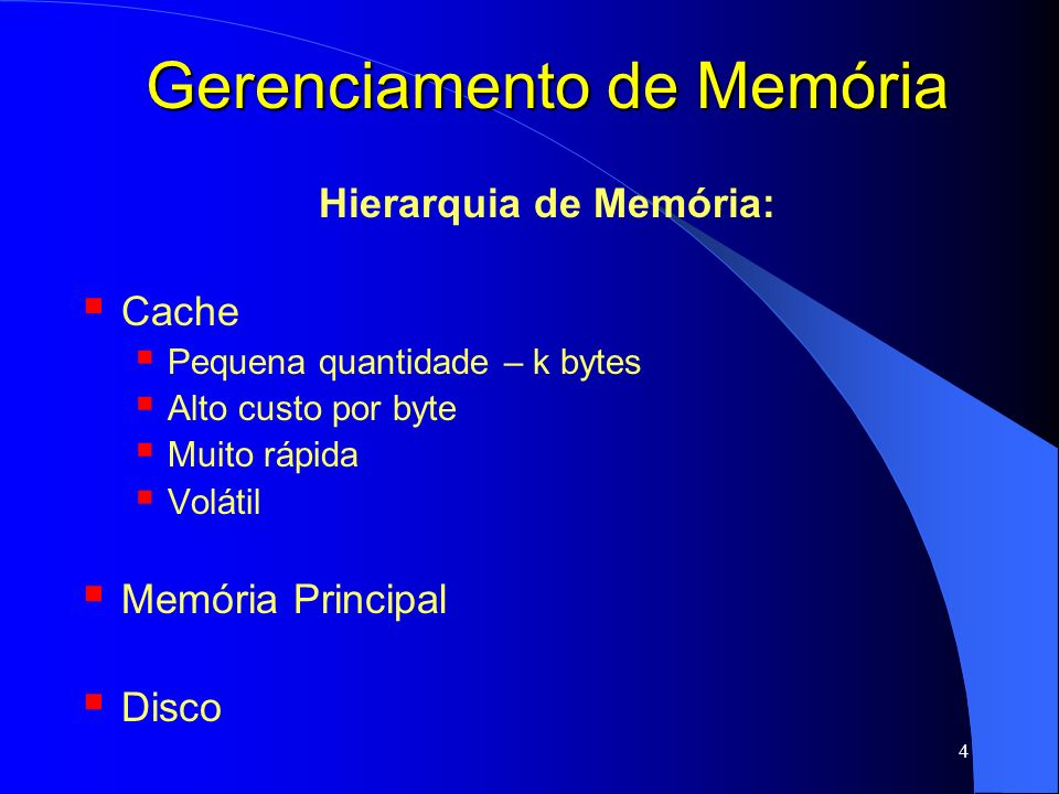 5 Gerenciamento de Memória Hierarquia de Memória: Cache Memória Principal Quantidade intermediária – M bytes Custo médio por byte Velocidade média Volátil Disco