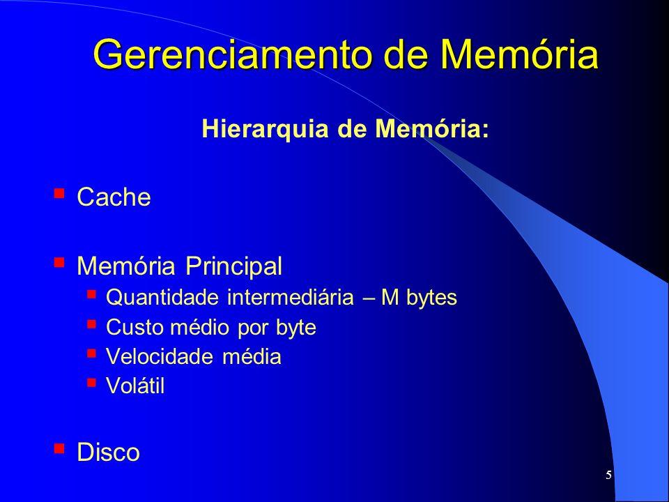 6 Gerenciamento de Memória Hierarquia de Memória: Cache Memória Principal Disco Grande quantidade – G bytes Baixo custo por byte Lenta Não volátil