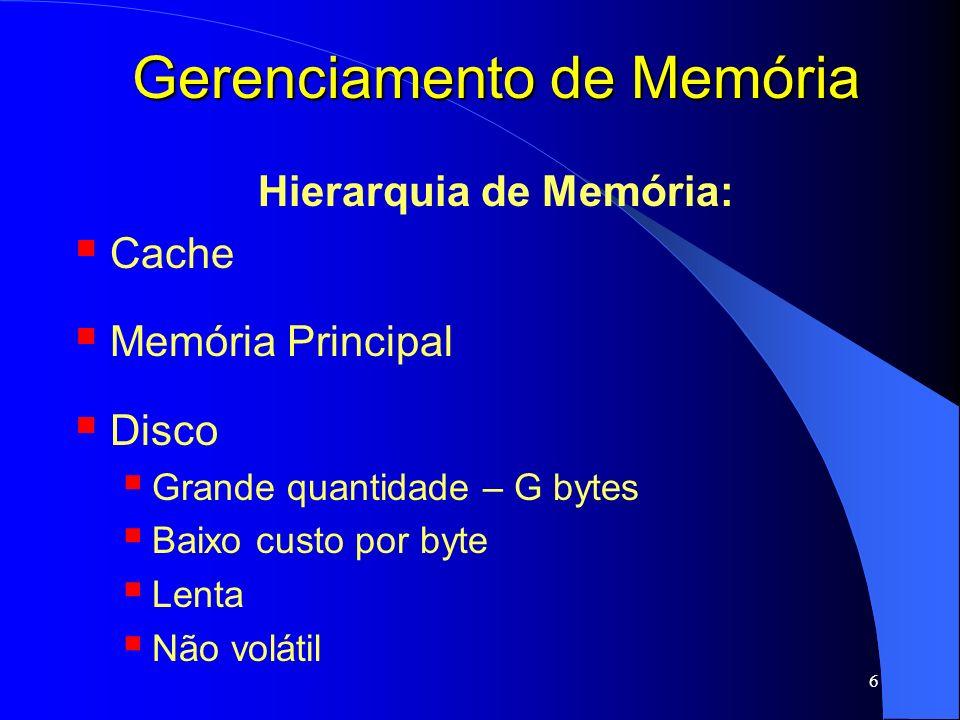 7 Gerenciamento de Memória Hierarquia de Memória: Para cada tipo de memória: gerenciar espaços livres/ocupados Alocar processos/dados na memória Localizar dado Entre os níveis de memória: Gerenciar trocas