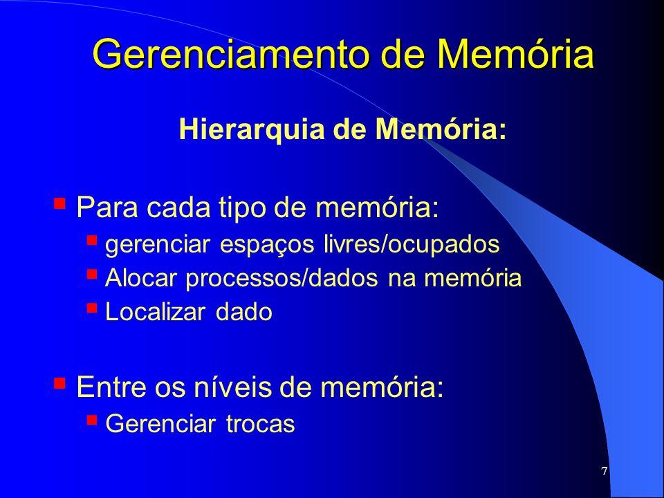 8 Gerenciamento de Memória Gerenciador de memória: responsável por alocar e liberar espaços na memória para os processos em execução; também responsável por gerenciar chaveamento entre os níveis de memória: principal e disco; principal e cache.