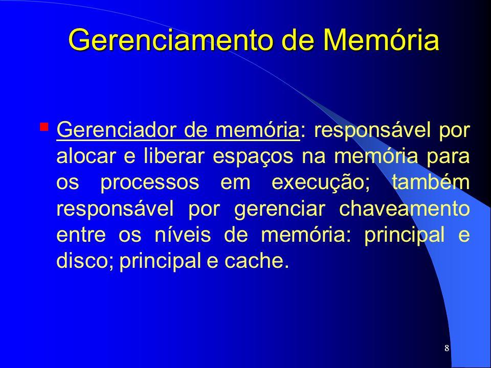 39 Gerenciamento de Memória Memória Virtual - Paginação Em uma memória cache na MMU chamada Memória Associativa; Também conhecida como TLB (Translation Lookaside Buffer - buffer de tradução dinâmica); Hardware especial para mapear endereços virtuais para endereços reais sem ter que passar pela tabela de páginas na memória principal; Melhora o desempenho;