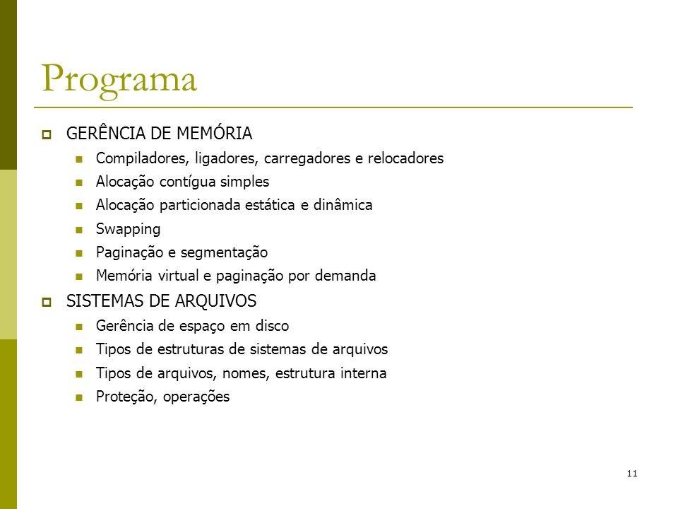 11 Programa GERÊNCIA DE MEMÓRIA Compiladores, ligadores, carregadores e relocadores Alocação contígua simples Alocação particionada estática e dinâmic
