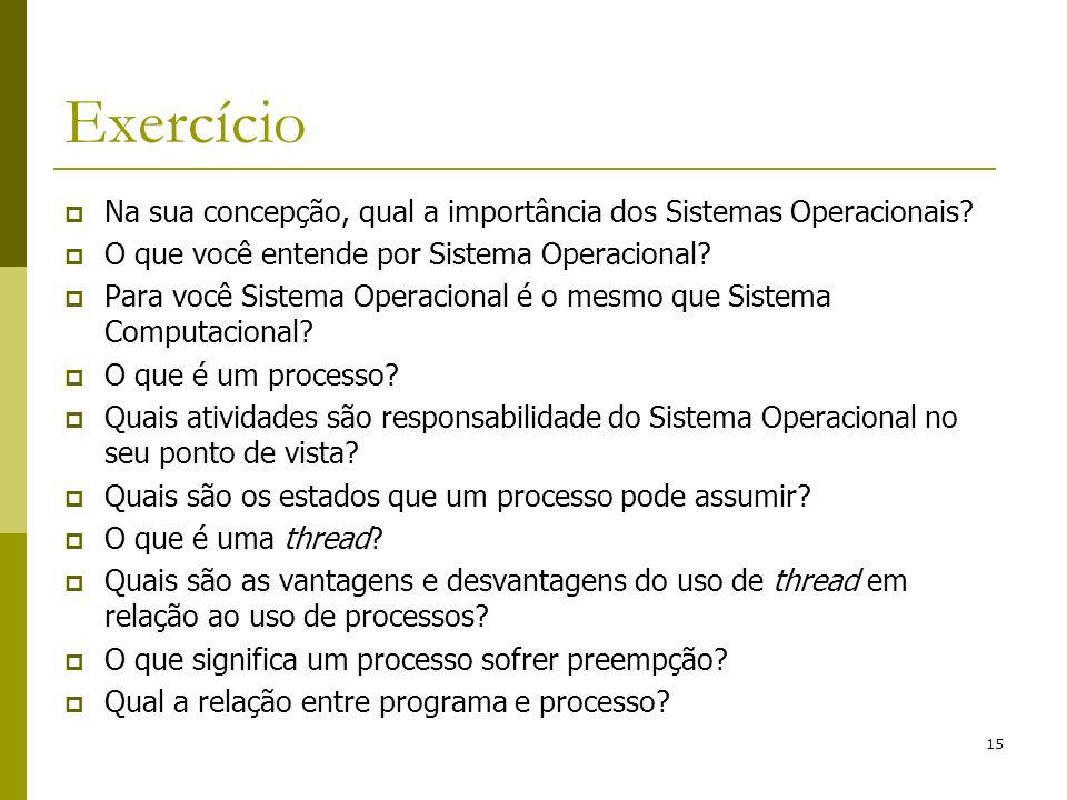 15 Exercício Na sua concepção, qual a importância dos Sistemas Operacionais? O que você entende por Sistema Operacional? Para você Sistema Operacional