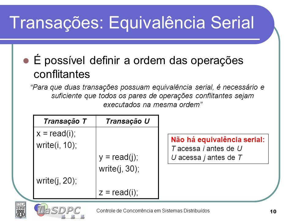 Controle de Concorrência em Sistemas Distribuídos 10 Transações: Equivalência Serial É possível definir a ordem das operações conflitantes Para que du