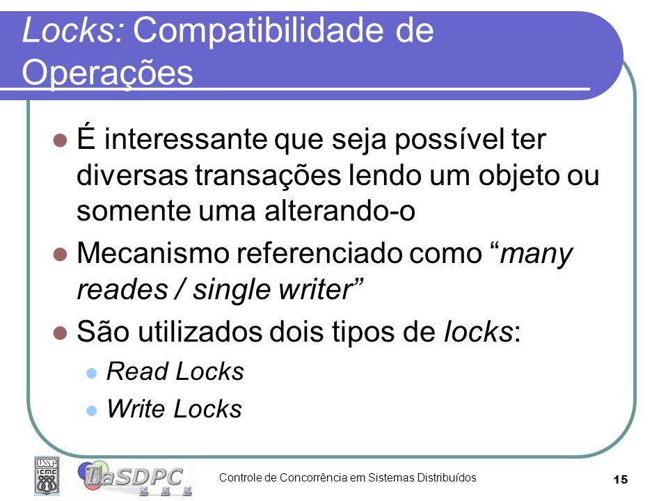 Controle de Concorrência em Sistemas Distribuídos 15 Locks: Compatibilidade de Operações É interessante que seja possível ter diversas transações lend