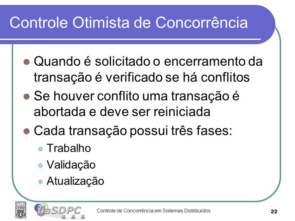 Controle de Concorrência em Sistemas Distribuídos 22 Controle Otimista de Concorrência Quando é solicitado o encerramento da transação é verificado se