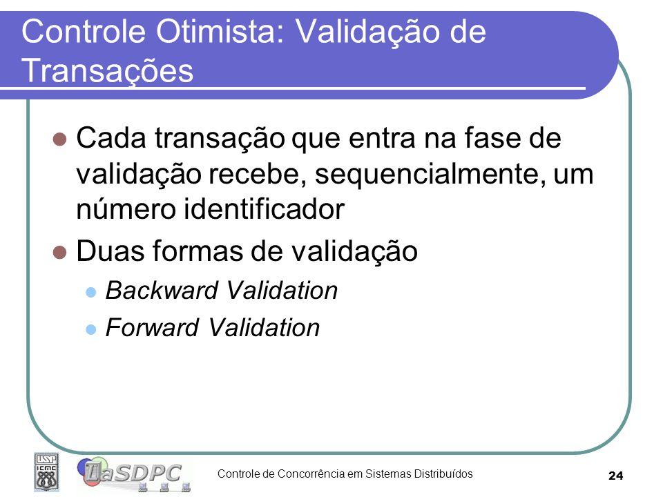 Controle de Concorrência em Sistemas Distribuídos 24 Controle Otimista: Validação de Transações Cada transação que entra na fase de validação recebe,