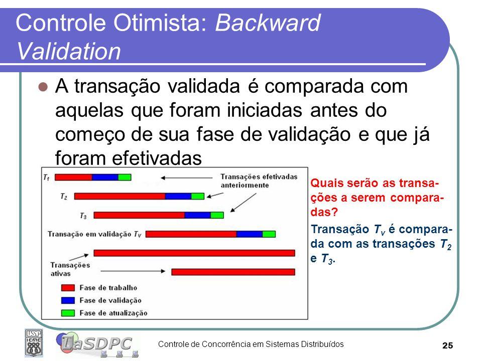 Controle de Concorrência em Sistemas Distribuídos 25 Controle Otimista: Backward Validation A transação validada é comparada com aquelas que foram ini
