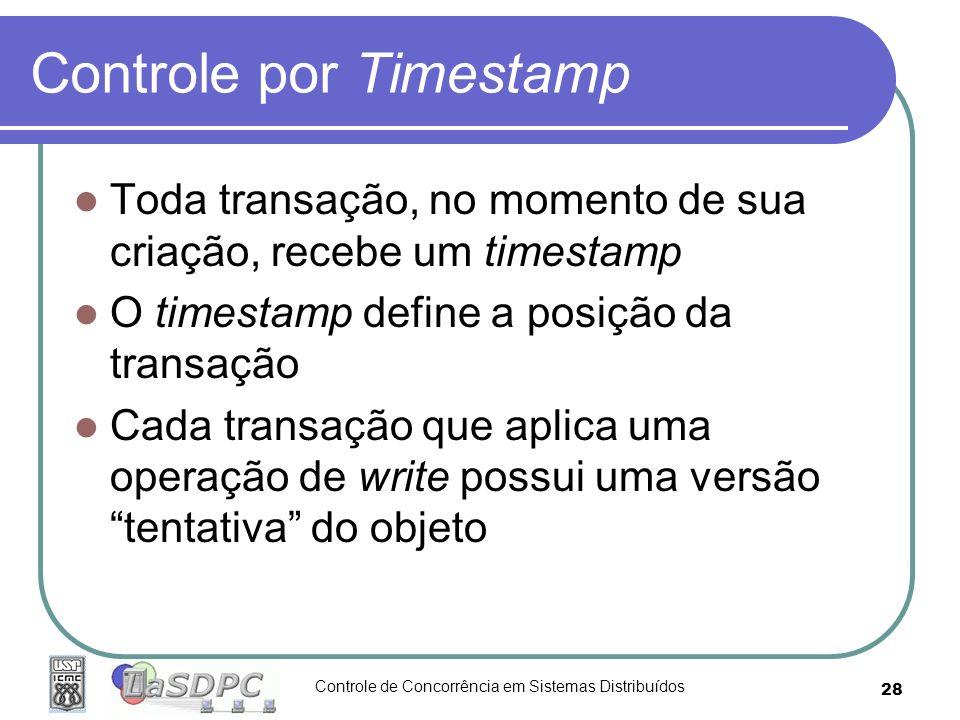 Controle de Concorrência em Sistemas Distribuídos 28 Controle por Timestamp Toda transação, no momento de sua criação, recebe um timestamp O timestamp