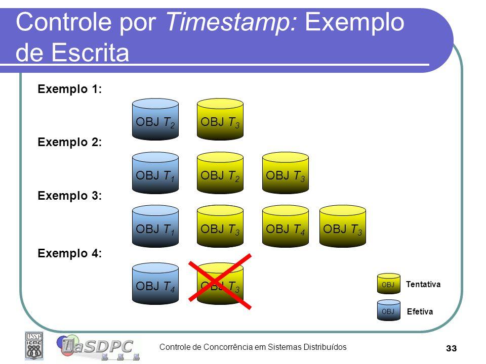 Controle de Concorrência em Sistemas Distribuídos 33 Controle por Timestamp: Exemplo de Escrita OBJ T 2 OBJ T 3 Exemplo 1: OBJ T 1 OBJ T 2 Exemplo 2: