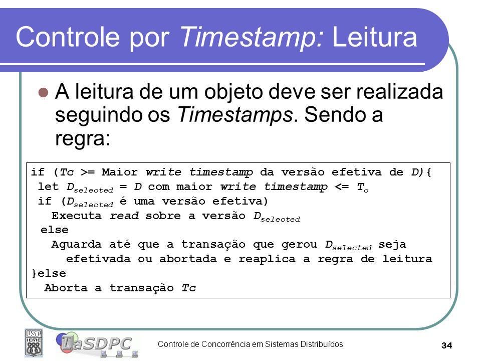 Controle de Concorrência em Sistemas Distribuídos 34 Controle por Timestamp: Leitura A leitura de um objeto deve ser realizada seguindo os Timestamps.