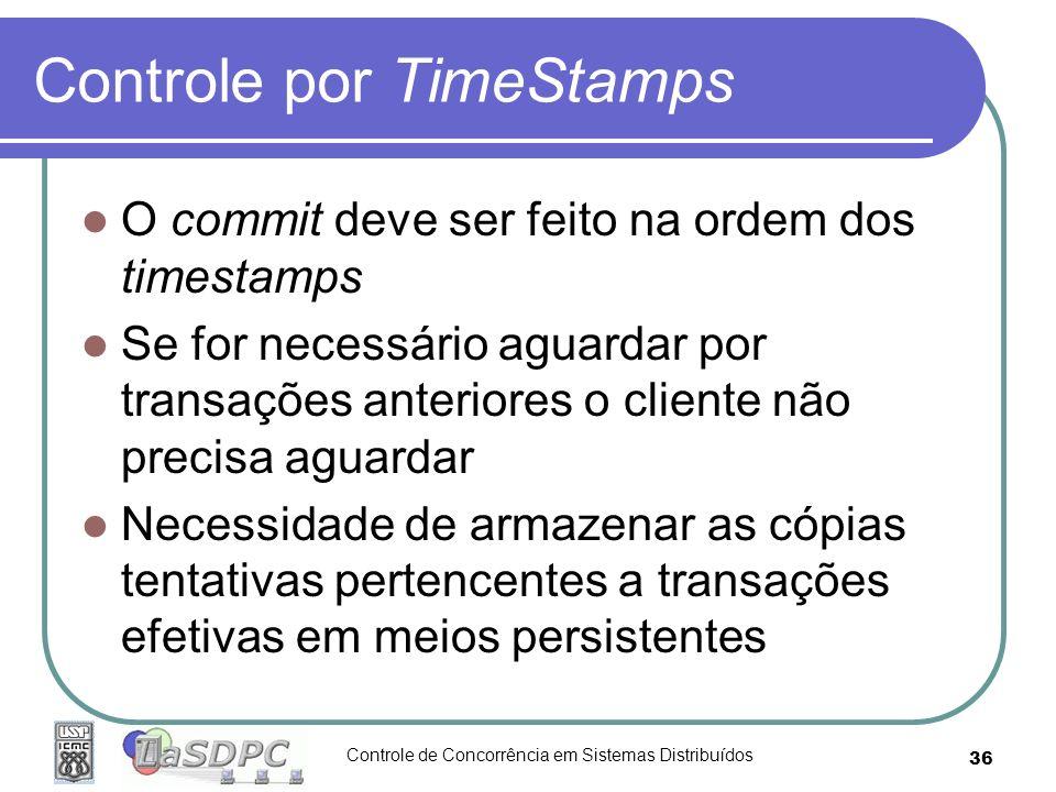 Controle de Concorrência em Sistemas Distribuídos 36 Controle por TimeStamps O commit deve ser feito na ordem dos timestamps Se for necessário aguarda