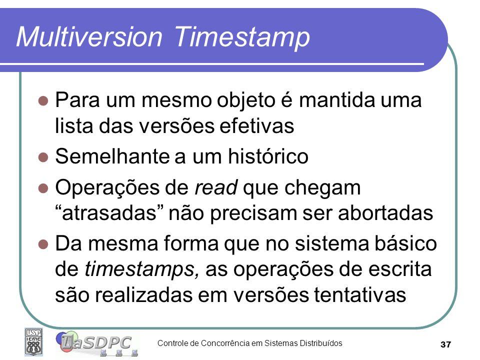 Controle de Concorrência em Sistemas Distribuídos 37 Multiversion Timestamp Para um mesmo objeto é mantida uma lista das versões efetivas Semelhante a